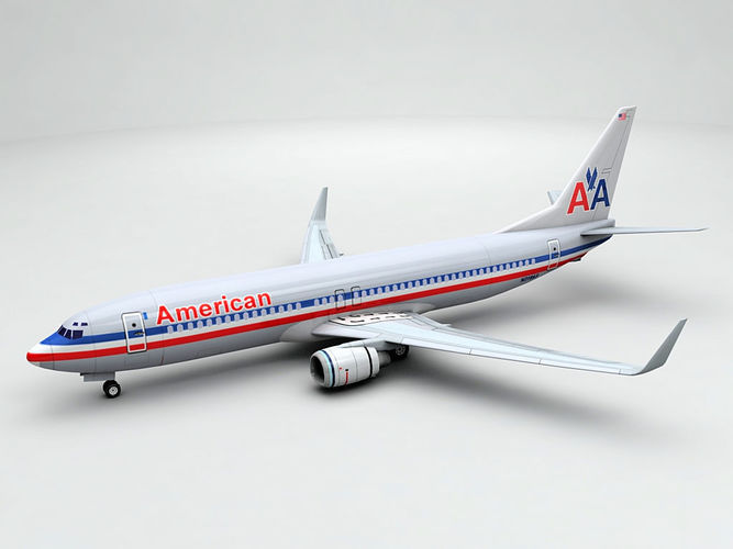 boeing 737-800 ng airliner - american airlines 3d model max obj 3ds dxf stl wrl wrz 1