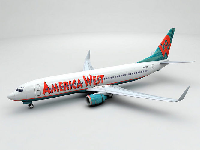 boeing 737-800 ng airliner - america west airlines 3d model low-poly max obj 3ds dxf stl wrl wrz 1