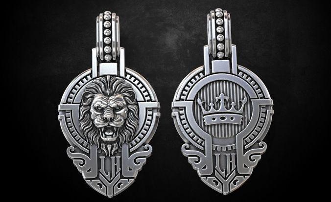 lion pendant with a stylish crown 235 3d model stl 3dm 1