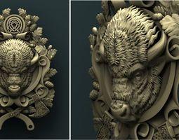 Bison medallion 3d stl model for cnc