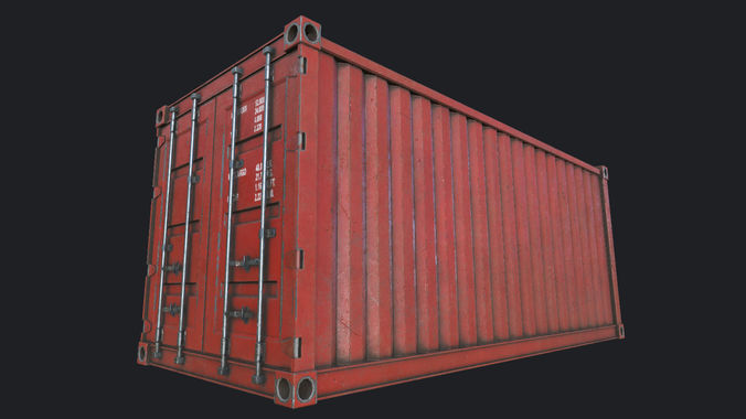 cargo container pbr 3d model low-poly max obj mtl 3ds fbx dae tga 1