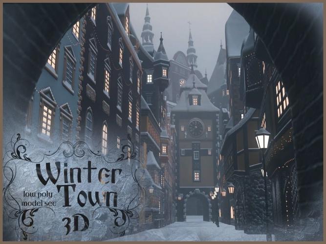 winter town 3d model low-poly max obj fbx 1