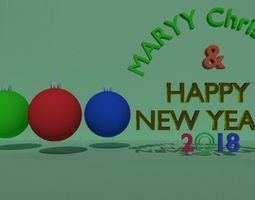 Marry christmas and happy new year 2018 3D model