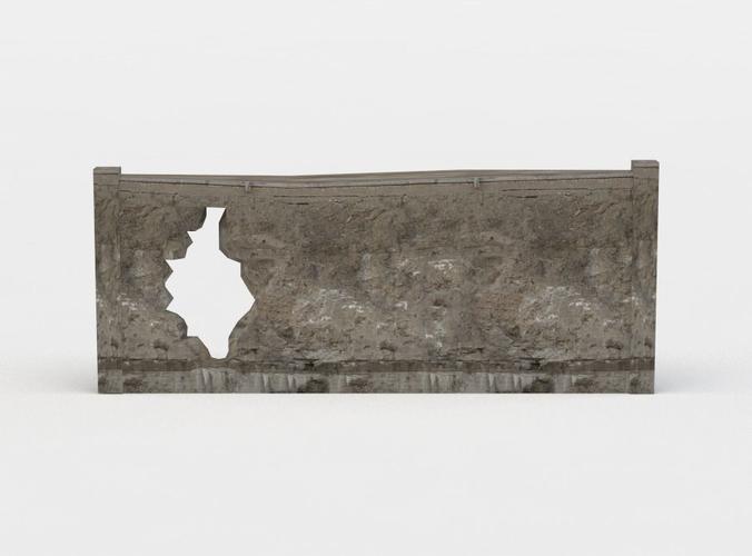 wall fragment 3d model low-poly obj mtl fbx lwo lw lws dae X u3d 1