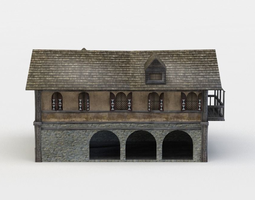 game-ready 3d model tavern building
