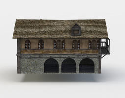 game-ready tavern building 3d asset