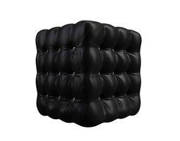 Realistic Black Leather Deep Buttoned Pouffe 3D