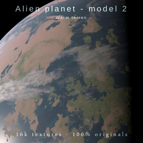 Alien planet model 2 - 16k photorealistic -warm terran