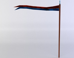 3d model low-poly flag with long stem