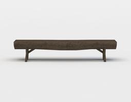 wooden bench 3d asset VR / AR ready