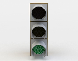 VR / AR ready green traffic light 3d asset