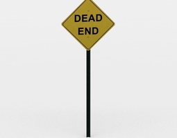 3d model dead end sign game-ready