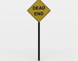 dead end sign 3d model low-poly