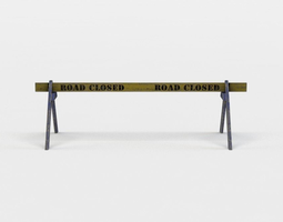 realtime road closed barrier 3d model