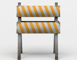 game-ready small wooden barrier 3d asset