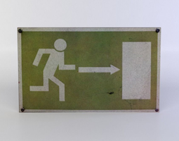 3d model game-ready green exit sign