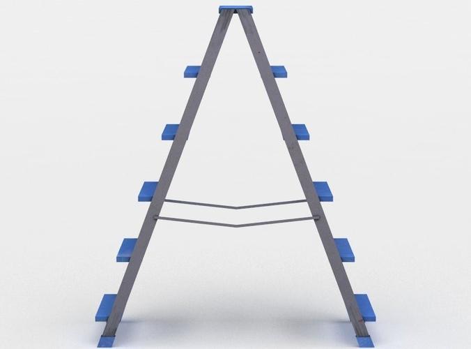 folding ladder 3d model low-poly obj mtl 3ds fbx lwo lw lws dae X 1