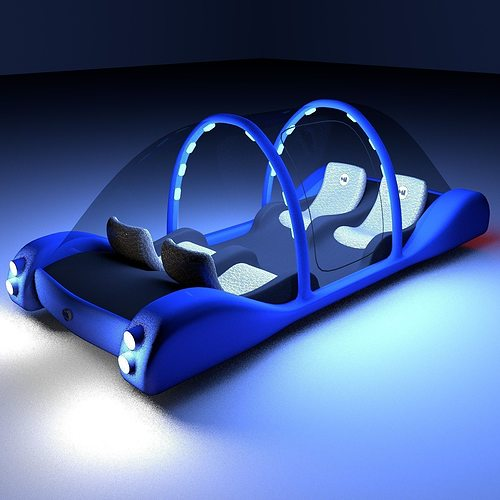 Futuristic Maglev Car 3D Model OBJ 3DS FBX BLEND