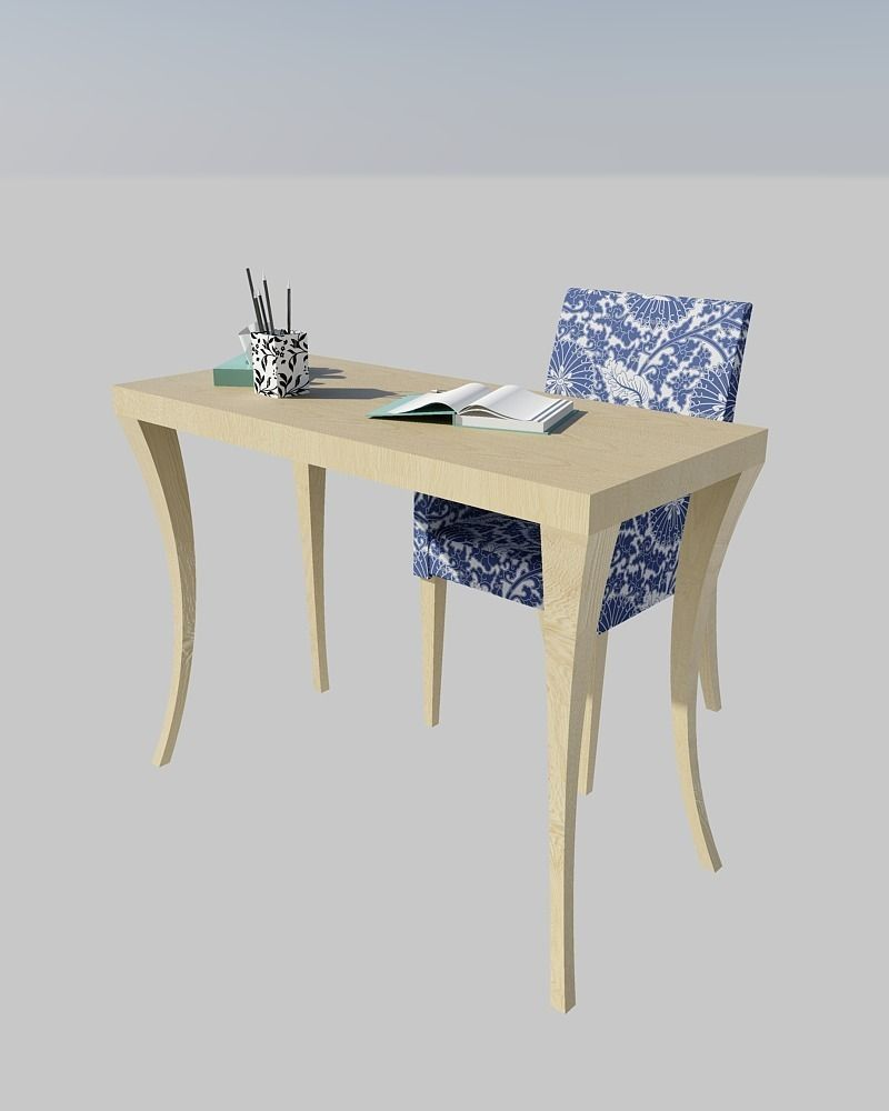 Small Desk With Armchair 3D