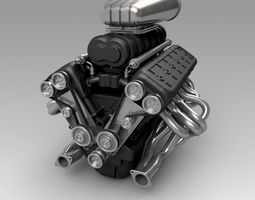 Car Engine V12 with Blower 3D model