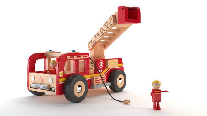3d asset fireman truck wood toy camion de pompiers en 2. Black Bedroom Furniture Sets. Home Design Ideas