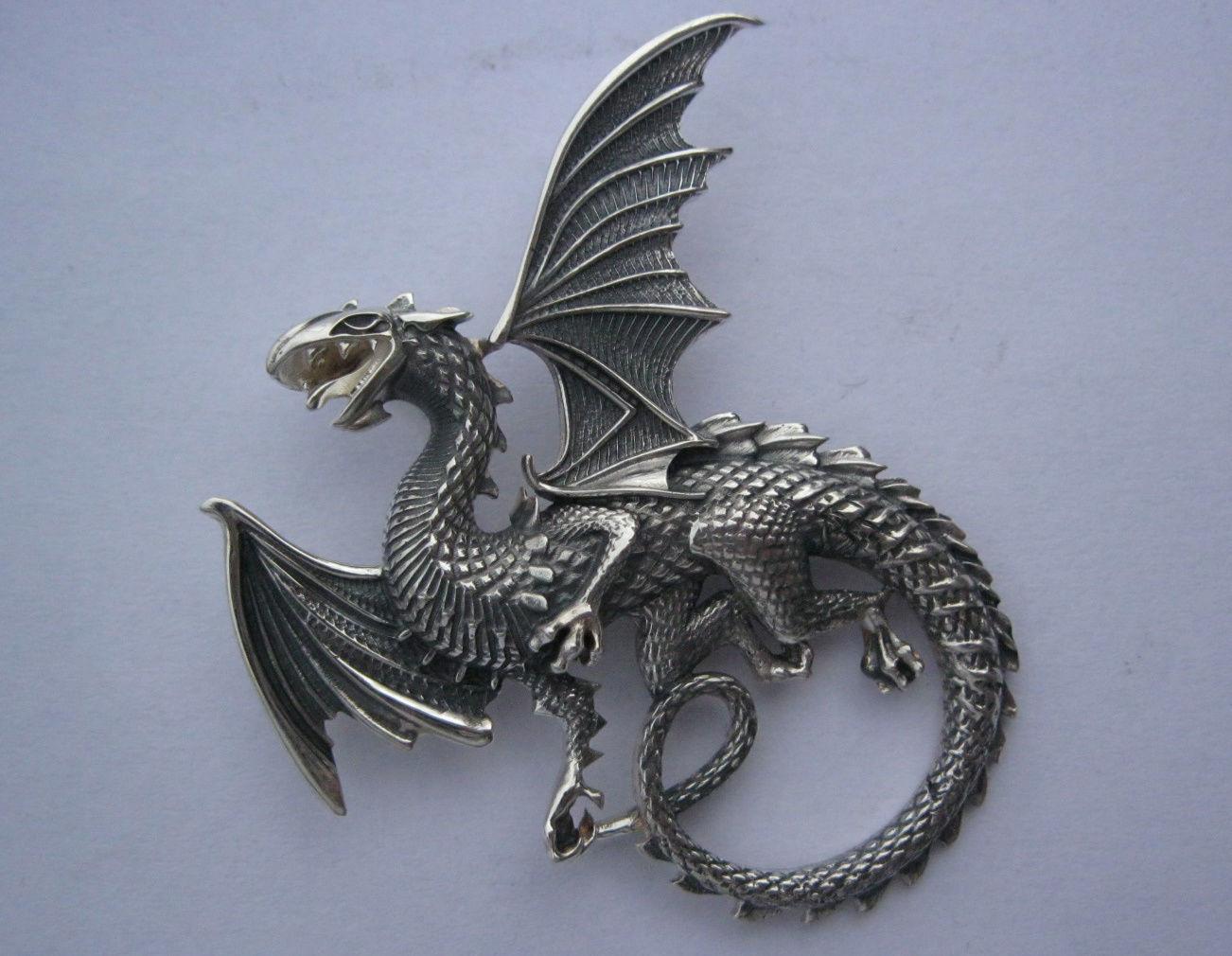 Whitby wyrm Dragon pendant