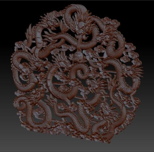 nine chinese traditional dragons model of bas-relief for cnc  3d model stl 1