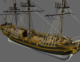 Licorne Galleon Sailing Pirate Ship 3D model