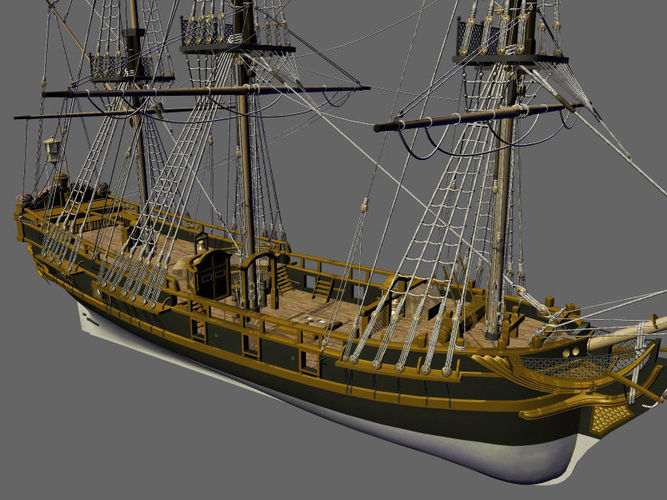 licorne galleon sailing pirate ship 3d model cgtrader