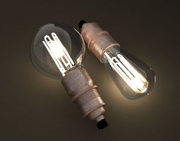 Eco-filament light bulbs combo 3D model vintage