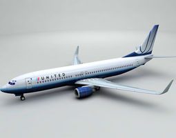 3D model Boeing 737-800 NG Airliner - United Airlines