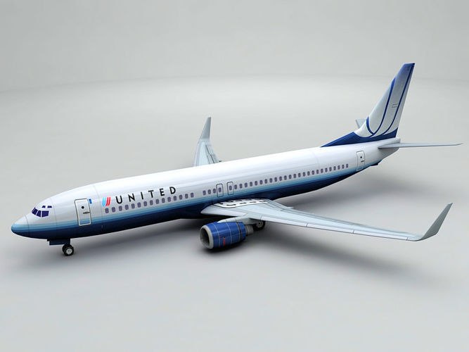 boeing 737-800 ng airliner - united airlines 3d model low-poly max obj 3ds dxf stl wrl wrz 1