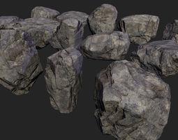 lowpoly rocks stones 3D asset