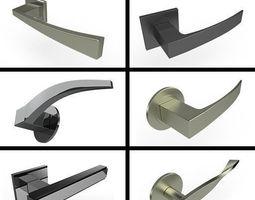 3D model Square Door Handles Collection 1