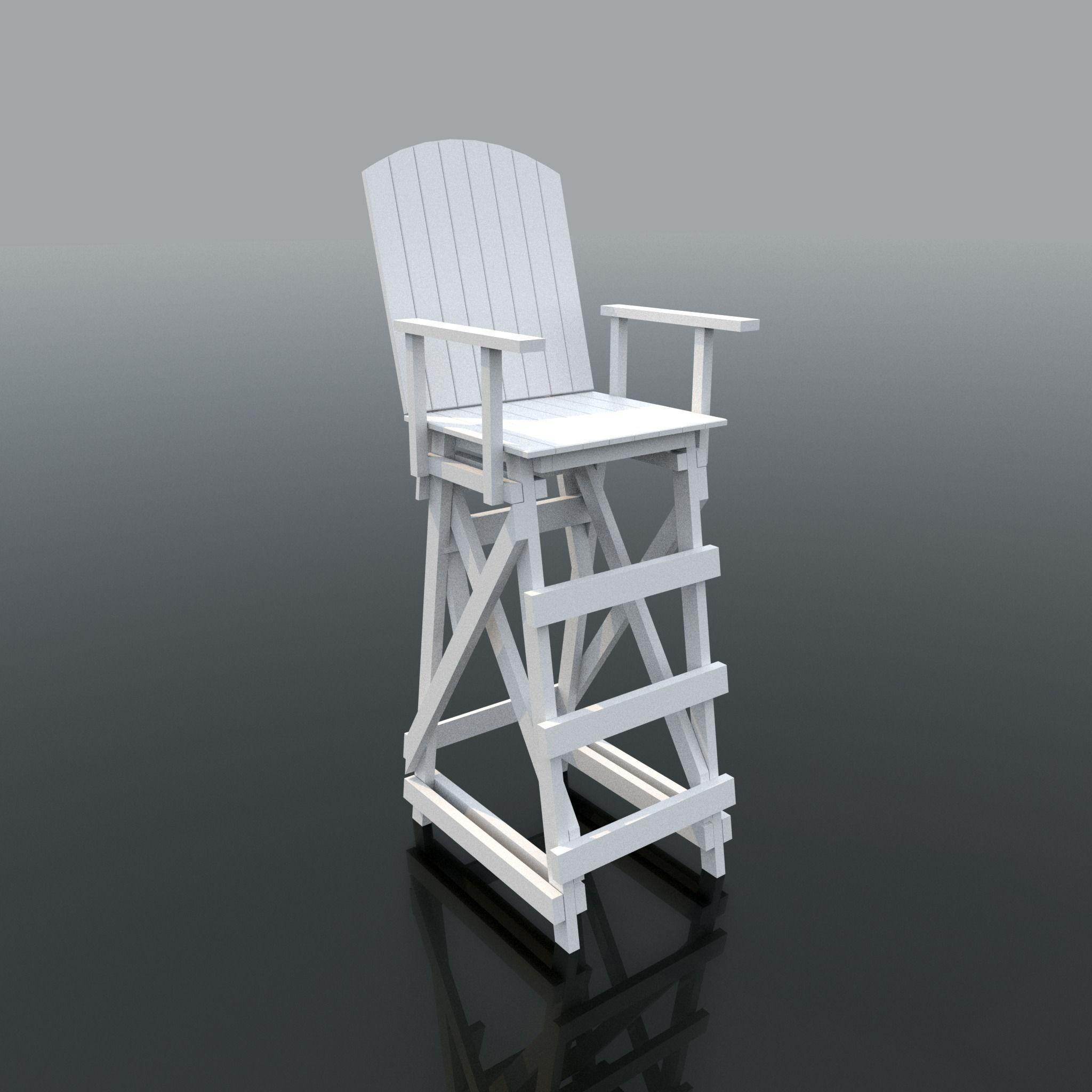 Superbe Lifeguard Chair 3d Model Obj Mtl Fbx 1