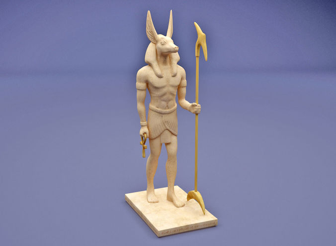 anubis with head of jackal holding an ankh and a was-sceptre 3d model max obj mtl 3ds fbx 1