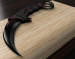 3D asset game-ready Karambit Knife