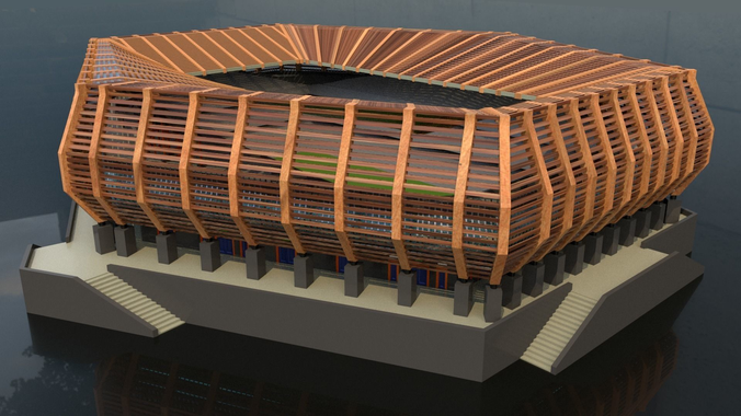 3d model stadium wood exterior cgtrader for Exterior 3d model