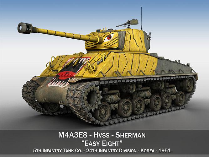 m4a3e8 sherman - easy eight - korea 3d model obj 3ds fbx c4d lwo lw lws 1