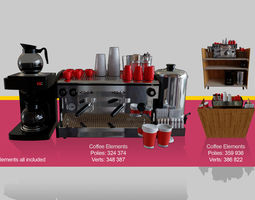 3D Coffee machine for barista cafeteria