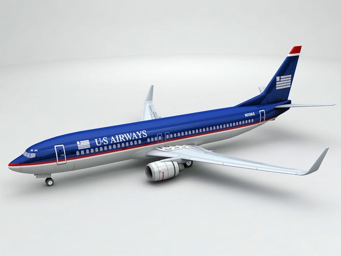 boeing 737-800 ng airliner - us airways 3d model max obj mtl 3ds dxf stl wrl wrz 1