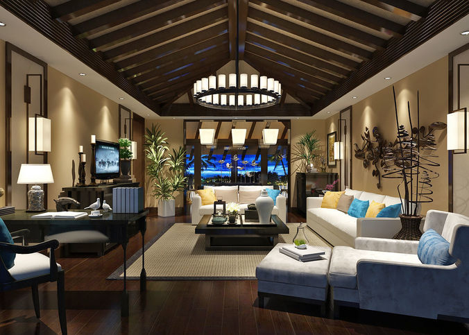 Southeast Asian Style Living Room 3D Model