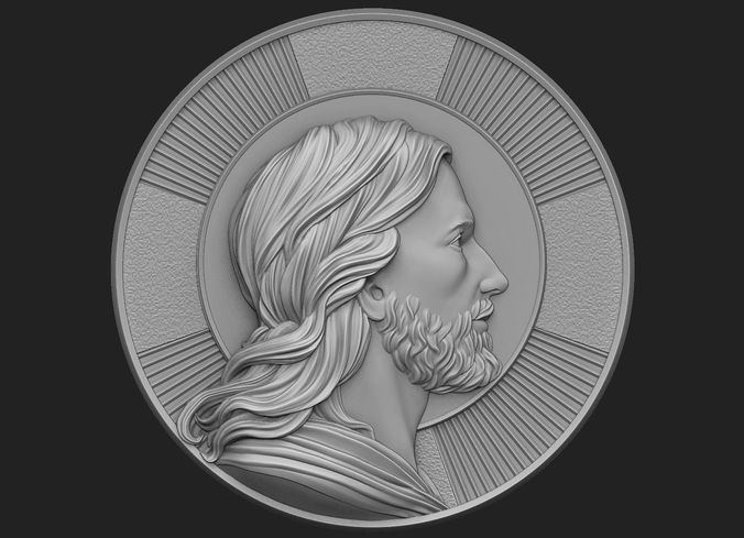 medallion of jesus no 2 3d model obj mtl stl 1