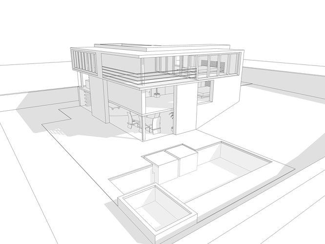 modern house 3d model 3ds dae dwg skp 1 - 3d Drawing Of House