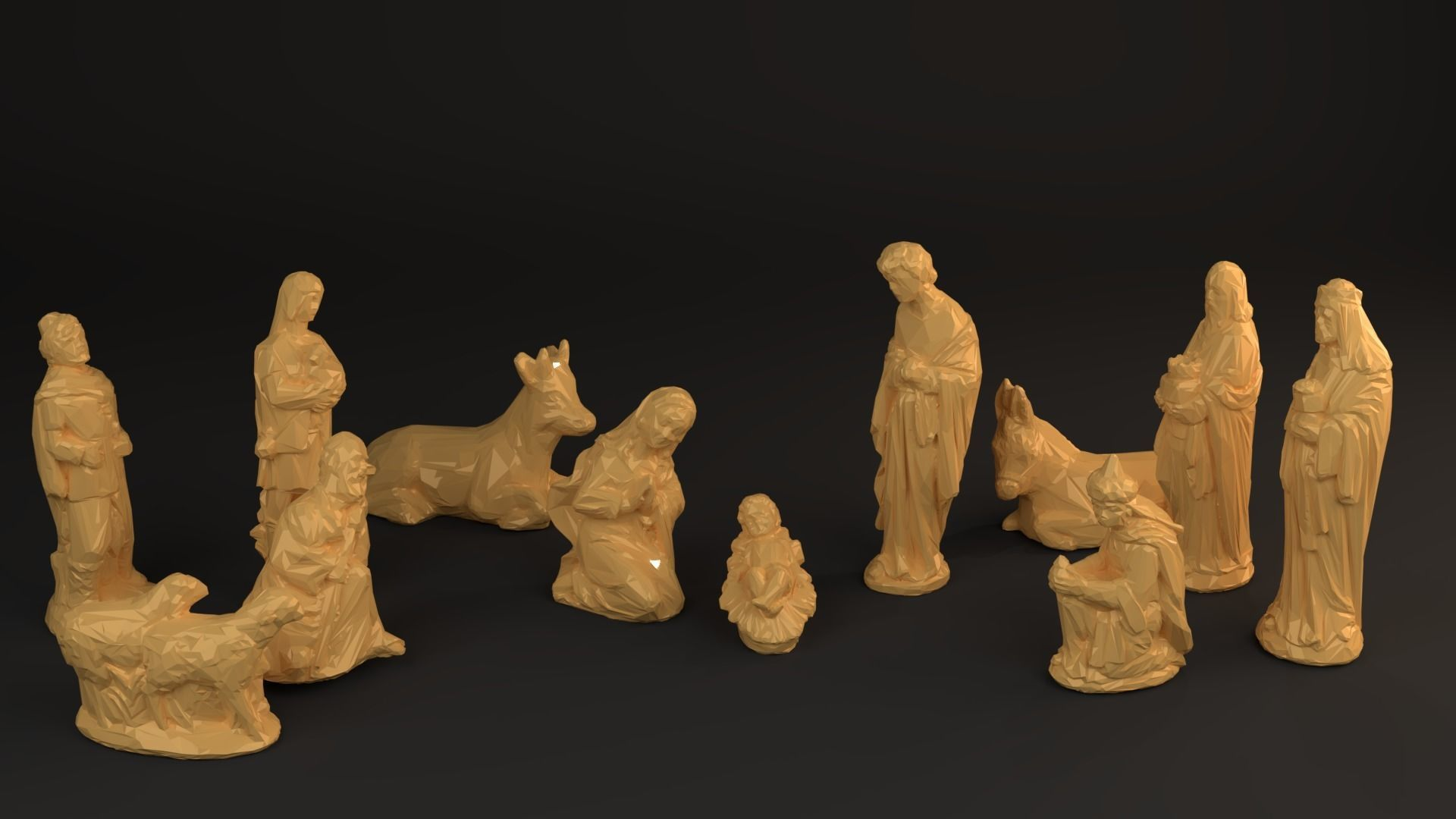 photo relating to 3d Printable Figures identify Nativity Crib stats - Reduced Poly 3D Print Design and style
