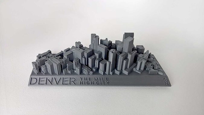 021a - denver cityscape -  3d model stl 1