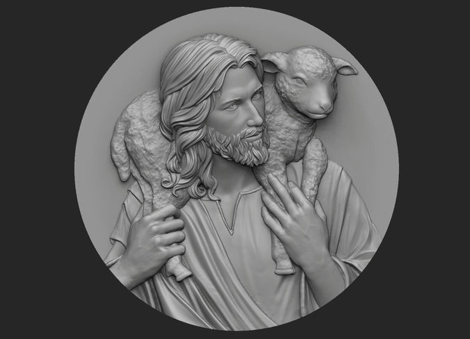 medallion of jesus no 3 3d model obj mtl stl 1