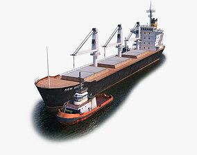 Bulk Carrier and Tugboat 3D asset