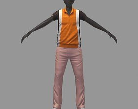avatar casual set brown line polo cage pants sneakers 3D
