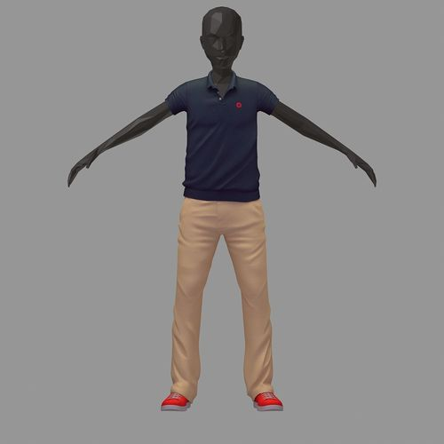 subdivision 3d model casual grey polo khaki pants red sneakers 3d model max obj mtl ma mb 1